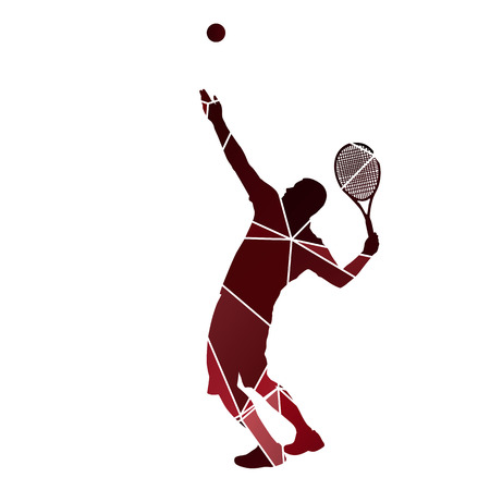 tennis serve: Tennis player serve. Red abstract silhouette