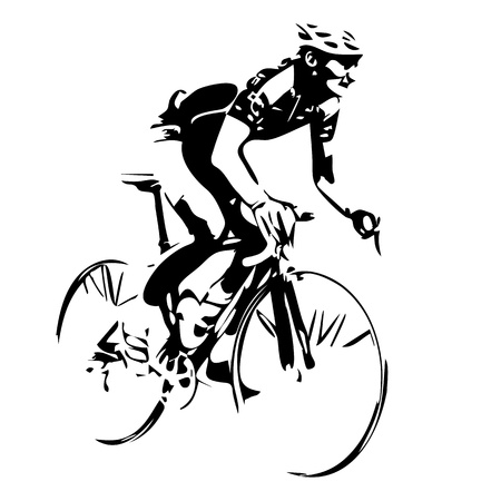 Cyclist cycling drawing