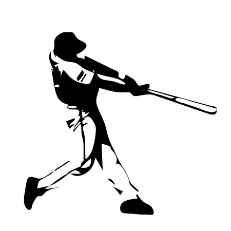 baseball cartoon: Baseball player swinging bat.  Illustration