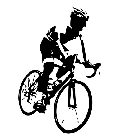cyclist silhouette: Cyclist silhouette. Bicycle racing