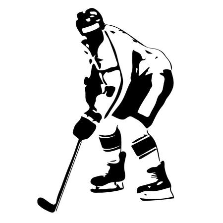 Hockey player. Vector drawing