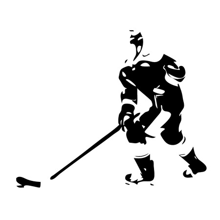 ice hockey player: Ice hockey player silhouette Illustration
