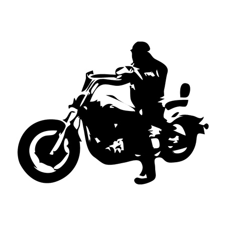 Chopper motorcycle. Motorbike rider, vector silhouette Иллюстрация