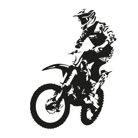silueta ciclista: Motocross jinete silueta