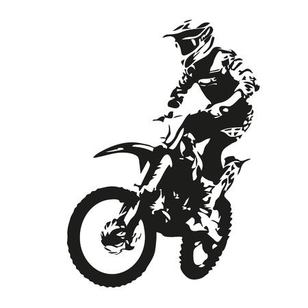 Motocross rider sylwetka Ilustracje wektorowe