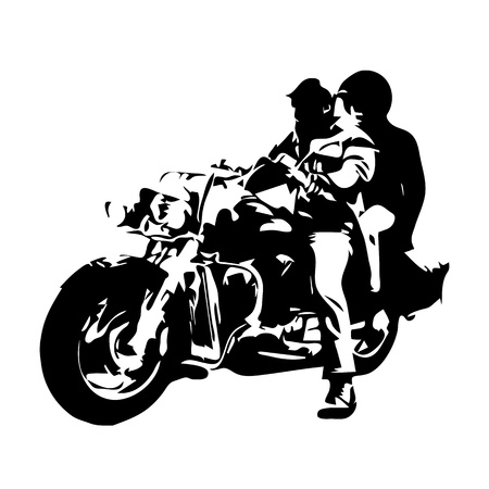 silueta ciclista: moto chopper, pareja en la moto, dibujo vectorial Vectores