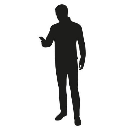 holding smart phone: Man silhouette with mobile phone