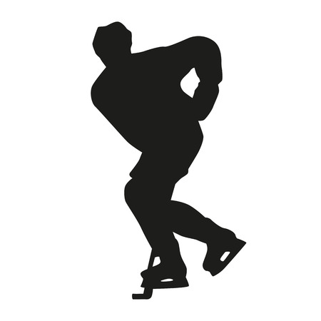 ice hockey player: Ice hockey player, vector silhouette