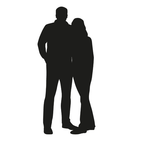 young couple: Couple vector silhouette. Hugging people