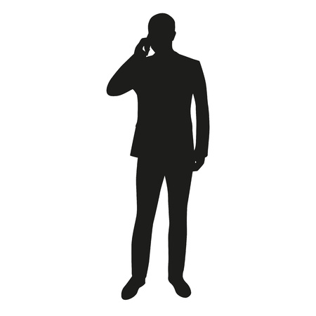 mistrust: Business man with mobile phone, vector silhouette