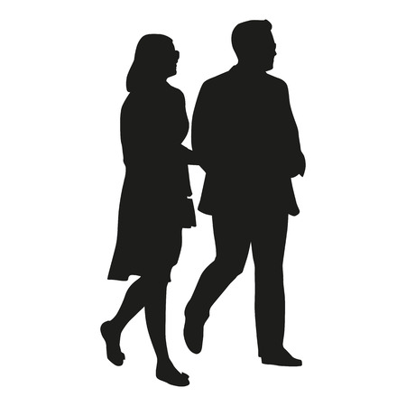 happy mature couple: Walking couple, vector silhouette Illustration
