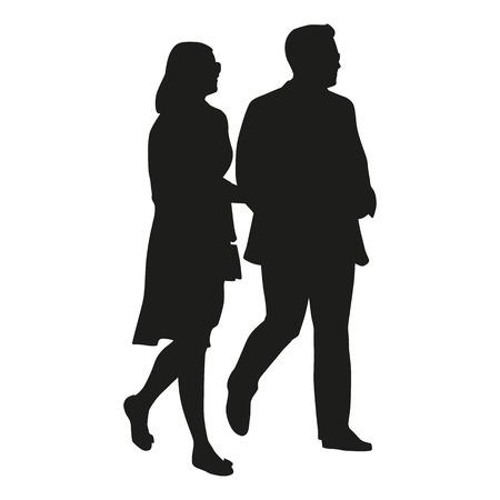Walking couple, vector silhouette Illustration