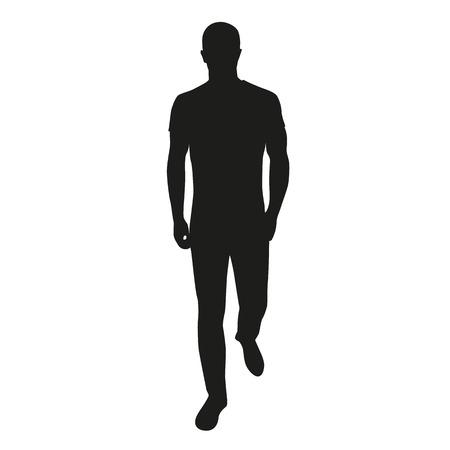 Man lopen vooruit in jeans en t-poep. Stock Illustratie