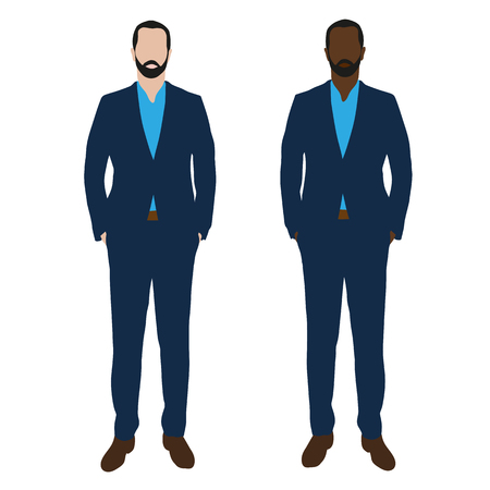 black men: Two businessmen in blue suits, vector illustrations