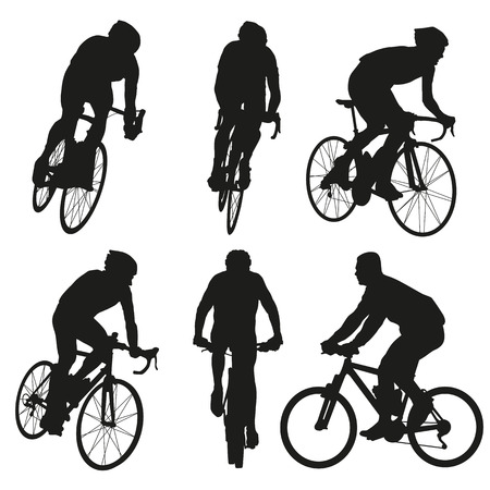 cyclist silhouette: Cycling silhouettes, set of vector cyclist