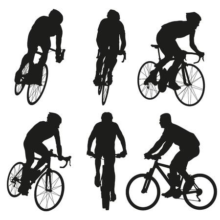 sylwetki na rowerze, zestaw wektor rowerzysta