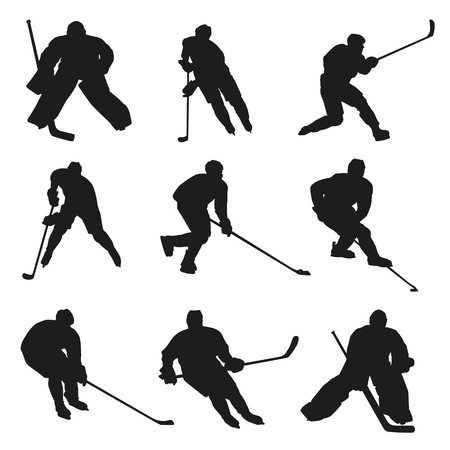 hockey players: Ice hockey players silhouettes