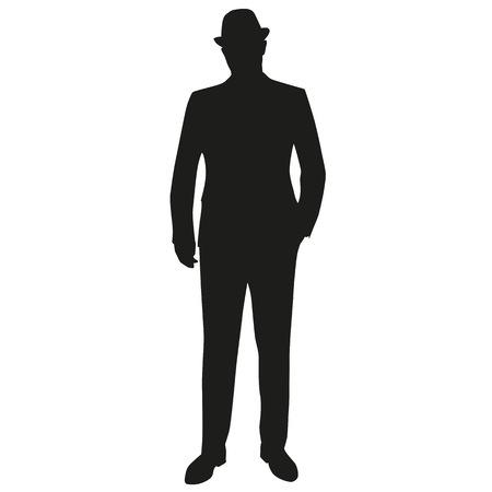 De pie hombre de traje y sombrero. Mano en el bolsillo. silueta del vector