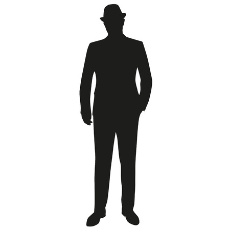 fifties: Standing man in suit and hat. Hand in pocket. Vector silhouette