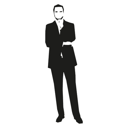 concerned: Thinking man in suit. Businessman vector silhouette. Illustration