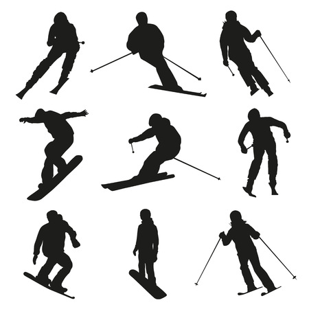 Skier and snowboarder. Set of vector silhouettes