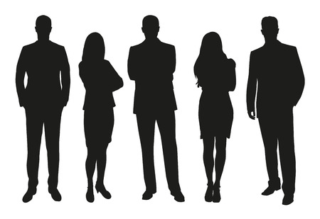 Business people, set of vector silhouettes Çizim