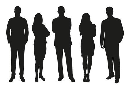 gente trabajando: La gente de negocios, conjunto de siluetas vector Vectores