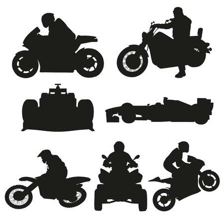 Road motorcycles, motocross and racing cars set of vector silhouettes