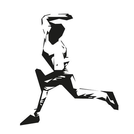 Baseball player. Throw. Vector Silhouette Vektorové ilustrace