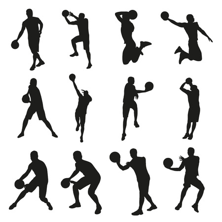 basketball shot: Basketball players, set of vector silhouettes