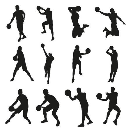 baloncesto: Los jugadores de baloncesto, un conjunto de siluetas vector