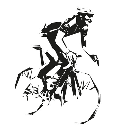 mountain silhouette: Cycling, vector road cyclist