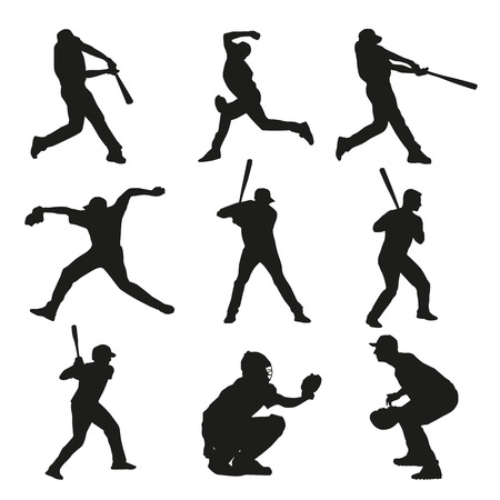 pitcher: Set of baseball players silhouettes. Batter, catcher, pitcher, base, bowler, fielder, baseman, shortstop