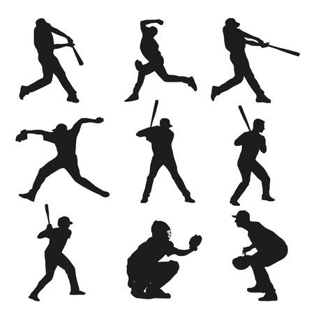 set of baseball players silhouettes batter catcher pitcher