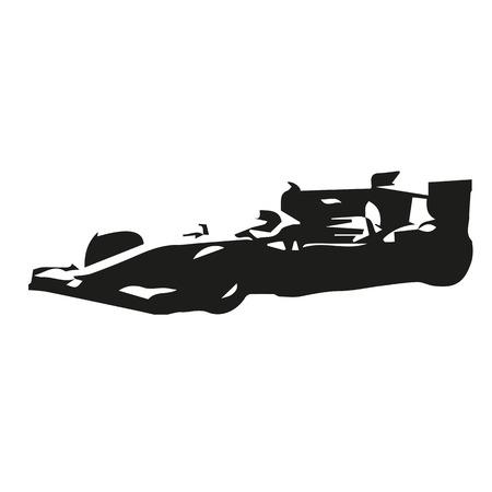 bolide: Formula car vector silhouette drawing Illustration