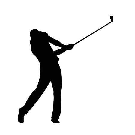 golf player: Golf player silhouette, vector isolated golfer