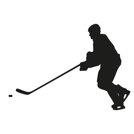 ice hockey player: Ice hockey player vector silhouette, side view