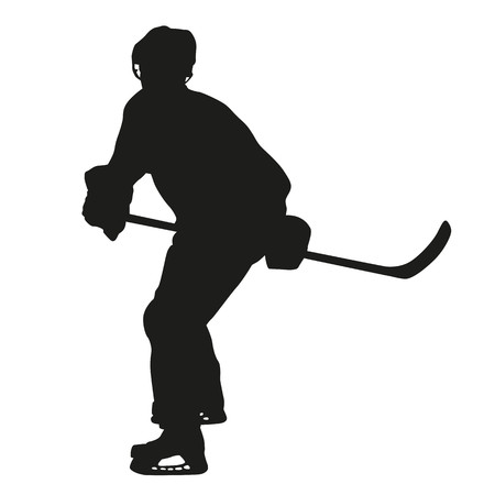 ice hockey player: Ice hockey player silhouette Illustration