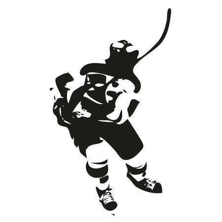 hockey sobre cesped: Hielo jugador de hockey silueta abstracta, ilustración vectorial