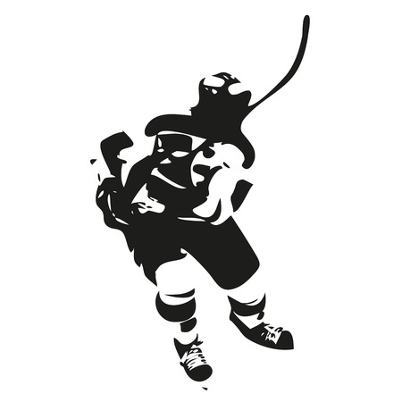 hockey goal: Ice hockey player abstract silhouette, vector illustration