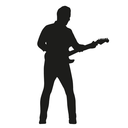 guy playing guitar: Guitar player silhouette