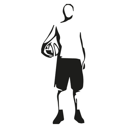 Basketball player standing with ball in hand, abstract vector illustration