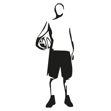 guy standing: Basketball player standing with ball in hand, abstract vector illustration