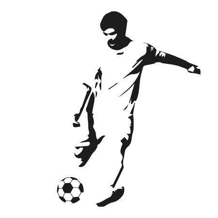 footballer: Soccer player vector illustration. Footballer isolated abstract silhouette