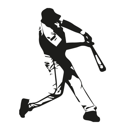 swing: Baseball player vector illustration, batter swinging bat, hits ball