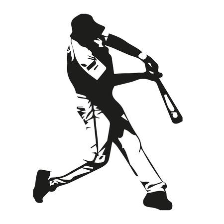 Baseball player vector illustration, batter swinging bat, hits ball