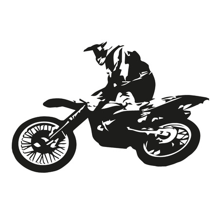 Motocross rider jumping, abstract vector illustration