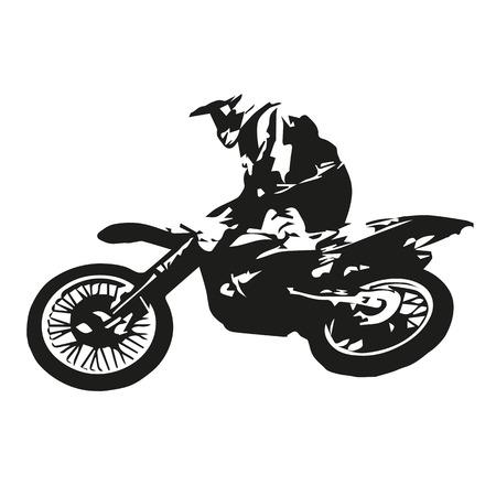 motorsports: Motocross rider jumping, abstract vector illustration