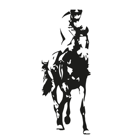 riding horse: Horse racing, vector illustration, front view