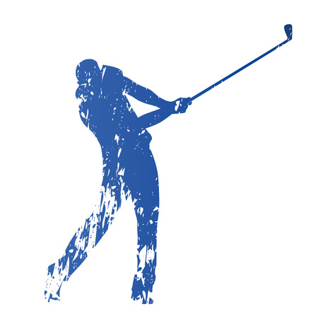Golf player, abstract grungy vector silhouette Çizim